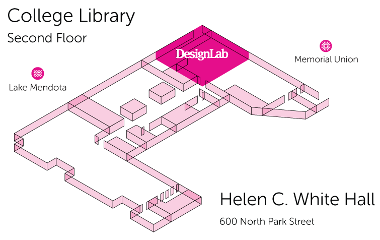 Map of College Library's Second Floor with DesignLab highlighted