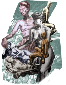 Life Drawing of a Group - a digital collage/illustration by Lindi Shi