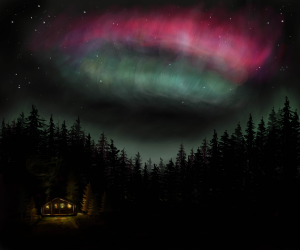 Northern Lights - a digital illustration by Lucy Hodkiewicz
