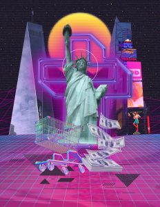 Commercialism as Religion - a digital collage by Kendra Raczek