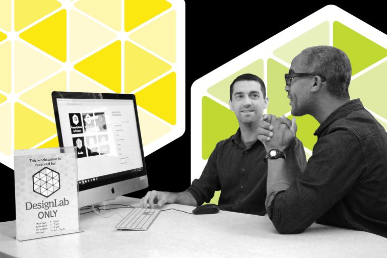Image of DesignLab consultation between Eric Hazeltine and Anwar Floyd-Pruitt