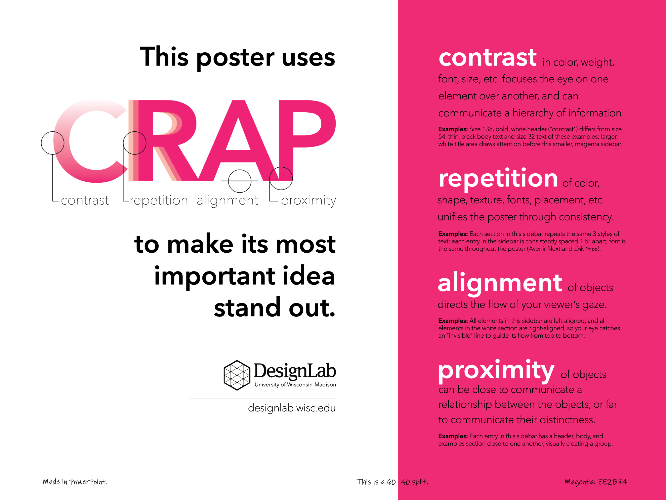 DesignLab's Creative Poster on Poster example with a 60/40 split of white and magenta and significantly less text than the standard posters. No images or charts on this poster. By clicking the image, you will be taken to the PDF version.