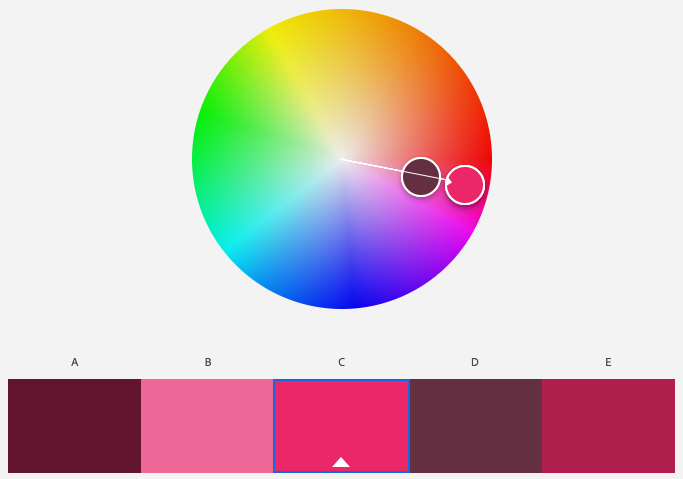 A screenshot of Adobe Color program's monochromatic color scheme with the base color of magenta