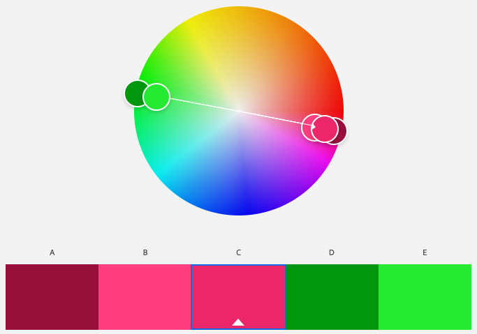 A screenshot of Adobe Color program's complementary color scheme with the base color of magenta