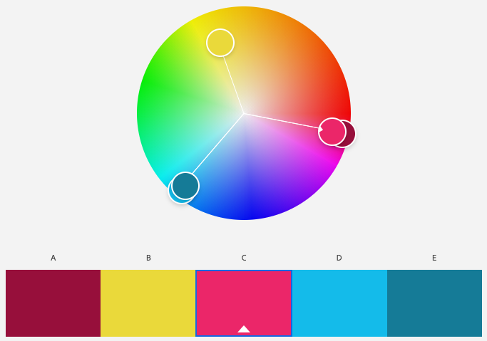 A screenshot of Adobe Color program's triad color scheme with the base color of magenta