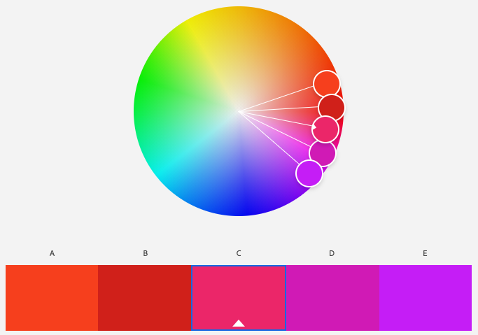 A screenshot of Adobe Color program's analogous color scheme with the base color of magenta