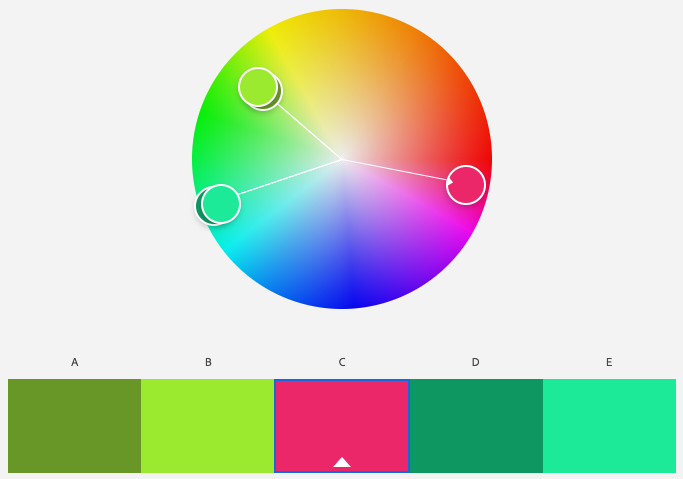 A screenshot of Adobe Color program's split complementary color scheme with the base color of magenta