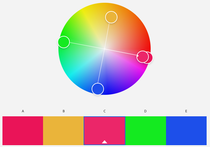 A screenshot of Adobe Color program's square color scheme with the base color of magenta