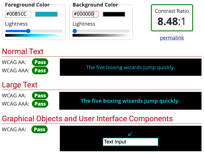 WebAIM Contrast Checker Example using DesignLab's Cyan Color on a black background. Shows passes on all tests