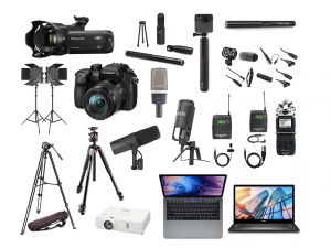 Collection of equipment, including cameras, laptops, and voice recorders