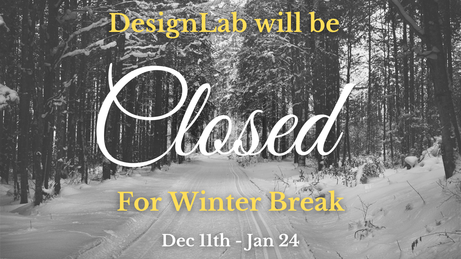 DesignLab will be closed for Winter Recess, December 11th through January 24th.