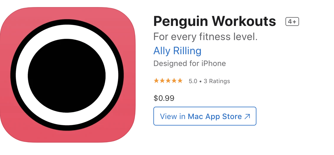 A screenshot of the header thumbnail of the Penguin Workouts App. It is two concentric circles, first black and then white against a coral pink background.