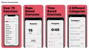 Four screen shots of the Penguin Workouts App. The background is a coral pink and the app is gray with black text.