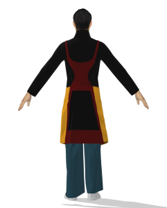 digital illustration of a person wearing a long coat (back view)