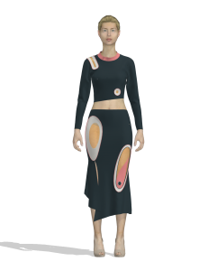 digital illustration of a person wearing a dress (front view)