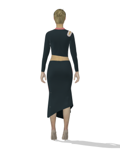 digital illustration of a person wearing a dress (back view)
