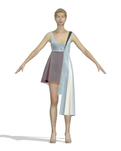 digital illustration of a person wearing an asymmetrical dress (front view)