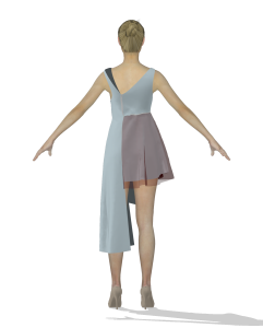 digital illustration of a person wearing an asymmetrical dress (back view)