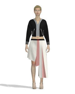 digital illustration of a person wearing an asymmetrical skirt (front view)