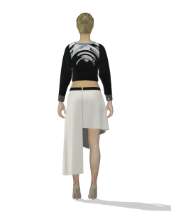 digital illustration of a person wearing an asymmetrical skirt (back view)