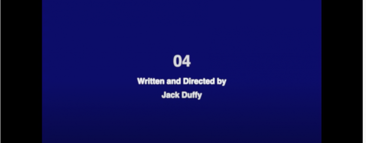 A blue background with the words 04 written by Jack Duffy